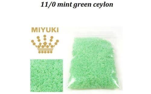 20 gms 11//0 mint green ceylon crystal miyuki seed beads approx 2200 beads