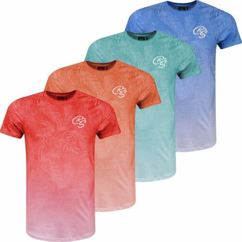 Hommes Crosshatch T-shirt été Délavé Hawaii Imprimé à manches courtes Beach Top Tee