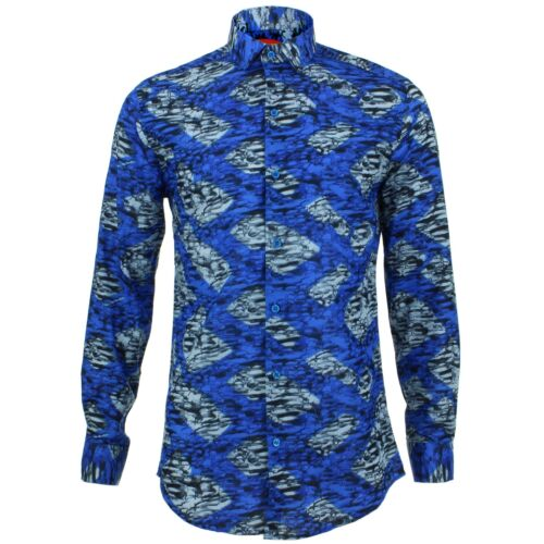 Mens Originals Tailored Blue Retro Loud Fit Shirt Chevrons Psychedelic Fancy 34jLqc5ARS