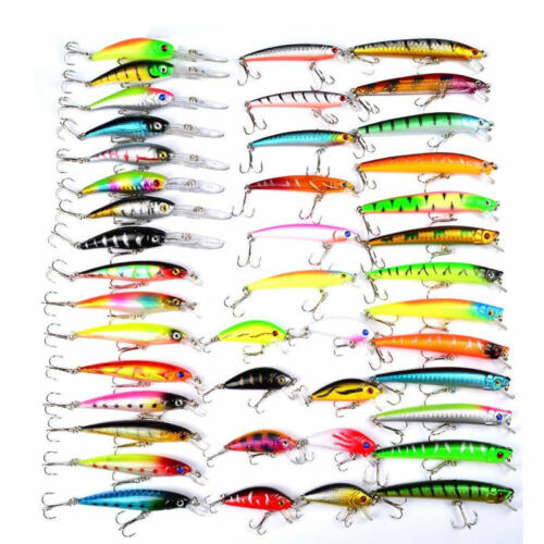 Lots Fishing Lures Kinds Of Minnow Fish Bass Tackle Hooks Baits Crankbaits