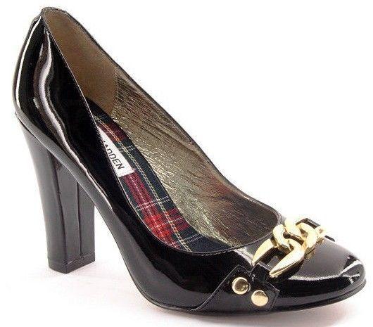 New STEVE MADDEN Women Black Patent Leather High Heel Pump Dress shoes Sz 7.5 M