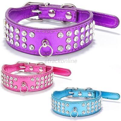 Puppy Dog Pet PU Leather Collar Cat Neck Strap Bling Rhinestone Crystal Collar