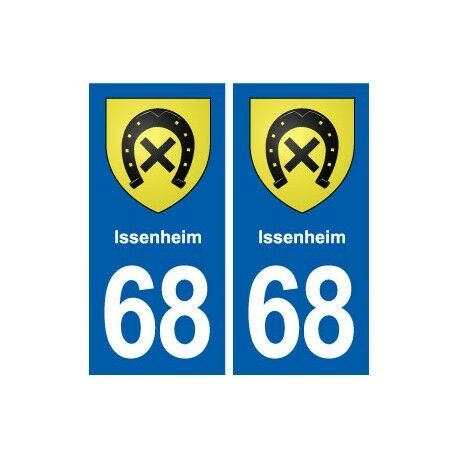 68 Issenheim blason autocollant plaque stickers ville -  Angles : droits