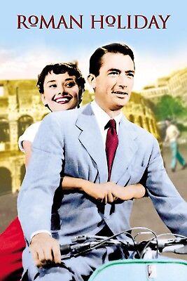 "Roman Holiday Silk Fabric Movie Poster 24/""x36/"" 11/""x17/""  AUDREY HEPBURN"