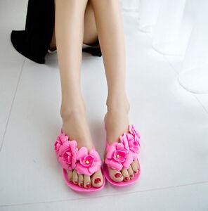 ca70b4d07593 Women s Flat Heel Filp Flops Jelly Flower Beach Casual Slipers ...