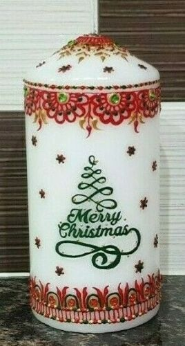 Wedding 1x Decorated Personalised Henna Mehndi Candles Christmas Birthdays