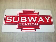 SUBWAY STATION ART DECO Metal Sign Model Train Vintage Style Retro Design Metro