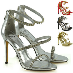 0b76645d1 Image is loading Womens-Stiletto-High-Heel-Strappy-Sandals-Ladies-Diamante-