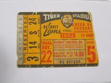 Nov 22, 1962 Detroit Lions vs Green Bay Packers Ticket Stub 2