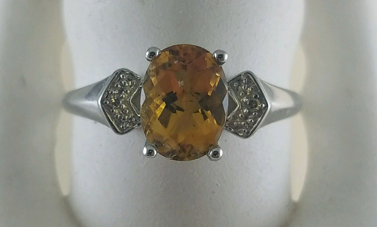 14KT WHITE gold OVAL CITRINE FACET RING WITH BRILLIANT DIAMONDS SIZE 7