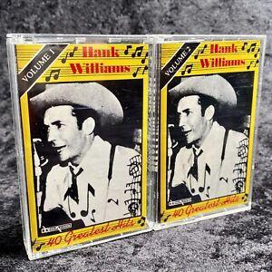 Hank Williams 40 Greatest Hits Volume 1 & 2 Cassette Tapes Polygram 1984