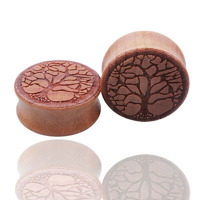 1 Pair of Wood Saddle Double Flared Ear Tunnel Plugs Gauges Life of Tree