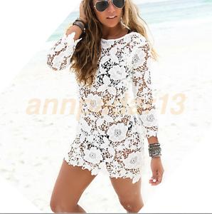 Women Long Sleeve Lace Bikini Cover Up Swimwear Bathing Suit Beach