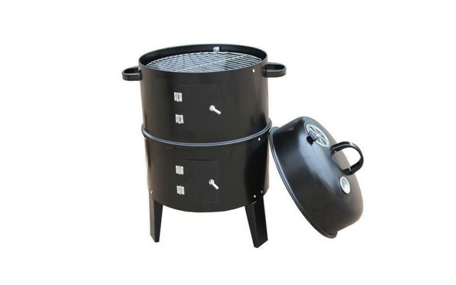 Nuevo Pequeño Negro Cochebón De Jardín Al Aire Libre Campamento Barbacoa BBQ Smoker Grill