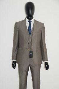 HUGO-BOSS-3-teiliger-ANZUG-Gr-48-Regular-Fit-Silk-Wool-Medium-Beige