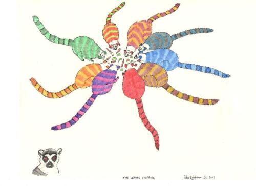 """/""""nueve lemúridos scoffing combinación de colores 1/"""" #PeterBrighouseIllustrator Tarjeta C6"""