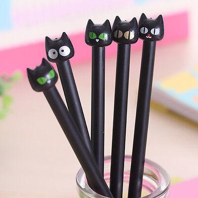 Lucky Black Cat Gel Pen Kawaii Stationery Creative Gift School Supplies Gold Eye