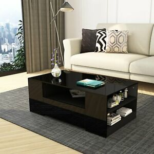 Details About Black High Gloss Coffee Table With Storage Drawers Modern Living Room Furniture
