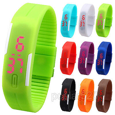 Fashion Cool Men Womens Stylish Digital Wrist Watch Silicone LED Sport Bracelet