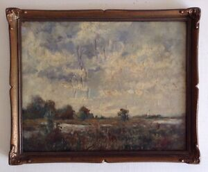 Tableau-ancien-Impressionniste-Beau-Paysage-de-Bocage-Huile-signee-a-Restaurer