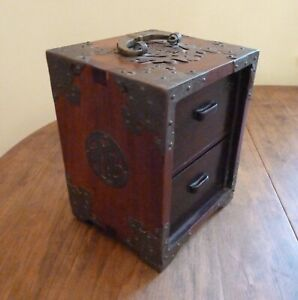 Antique-Chinese-Wood-and-Brass-Jewelry-Box-with-2-Drawers-and-Handle