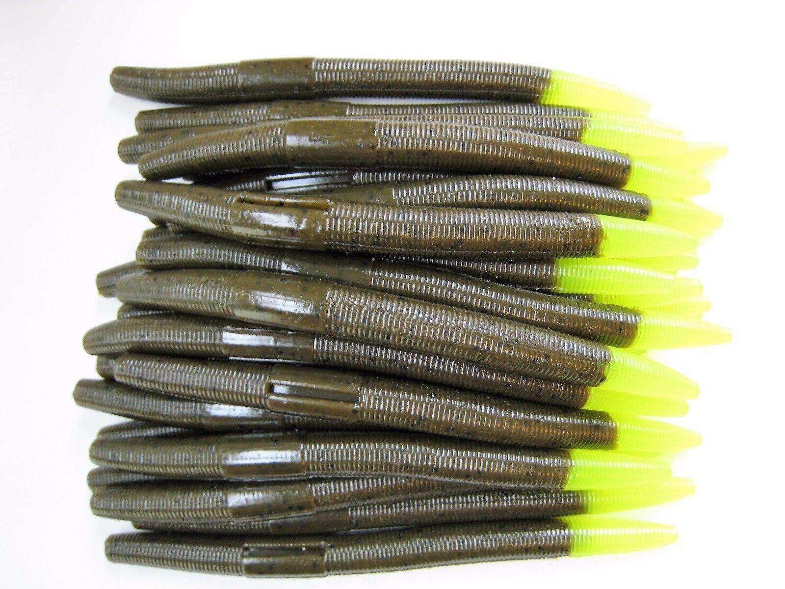 "40 pk 5/"" Senko-style Worm-RED BUG CHARTREUSE TIP-Soft Plastic SCENT /& SALT-USA"