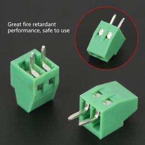 50pcs-set-2-Pin-Screw-Terminal-Block-Connector-2-54mm-Pitch-Green-PCB-Mount