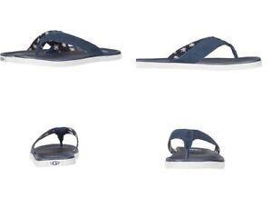 81a8dd389b8 Details about UGG Beach Flip Suede Canvas Men's Flip Flops Thongs Imperial  Blue Size 10 US
