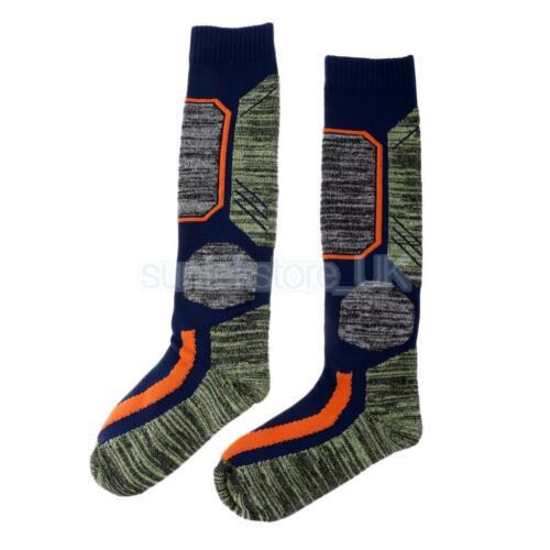 Unisex Long Thick Thermal Warm Snow Ski Hiking Winter Sport Socks Blue M