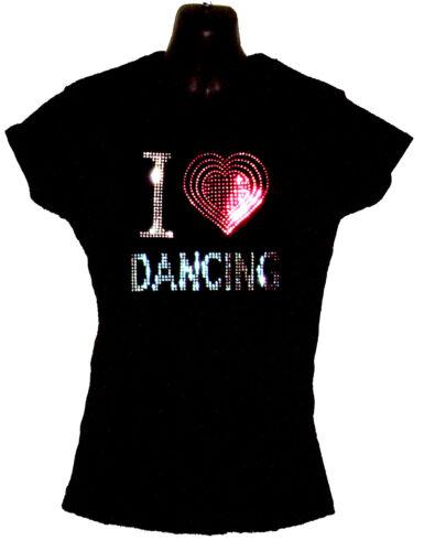 8 à 18 I love dancing Mesdames montés t shirt avec rhinestud design