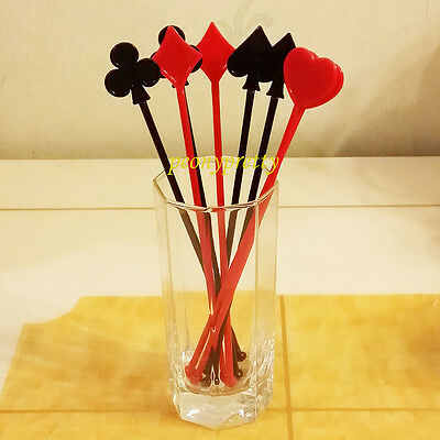 Quality playing card drink stirrer cocktail swizzle stir stick mixed 4 colors