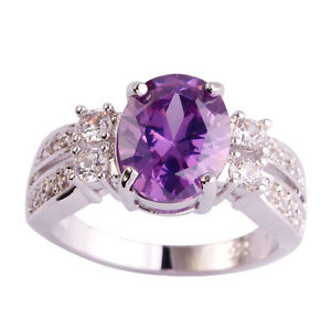 Nice-Women-Amethyst-White-Topaz-Gemstone-Silver-18k-Gold-Filled-Ring-Size-9-New