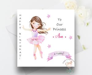 Belle Ballerine Carte d/'anniversaire fait main /& Personnalisé FILLE//Nièce//Ami