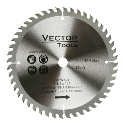 """Carbide Tipped Wood Cutting Saw Blade 7-1//4 48 Teeth  5//8 Arbor 7//8/"""" Knock Out"""
