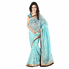 Party Wear Gold Zari & Black Velvet  Border Blue Net Brasso Sari with Blouse