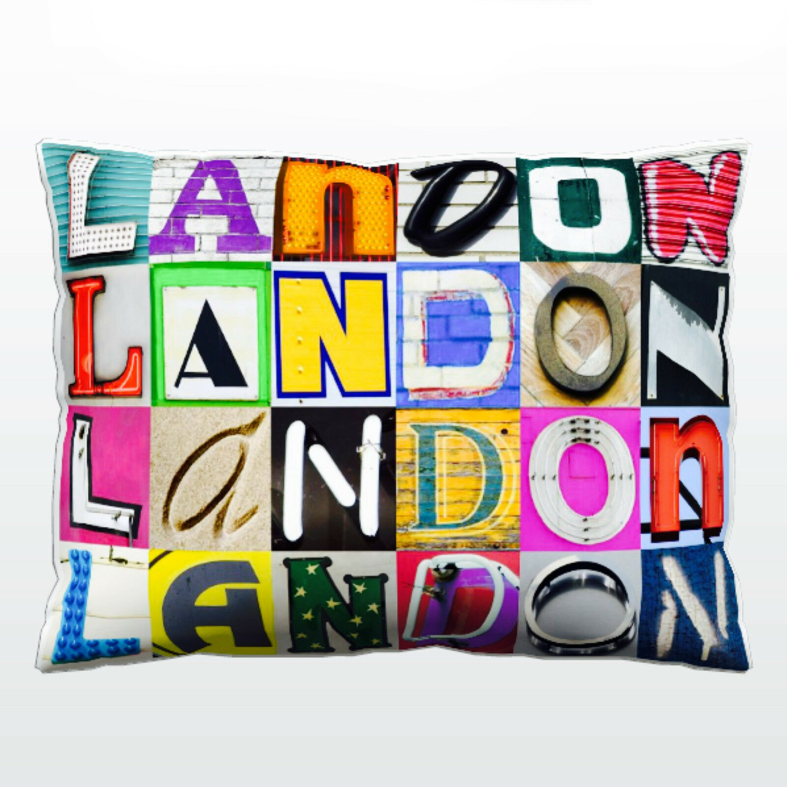 Personalized Pillow featuring the name LANDON in photos of sign letters