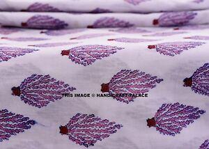 5-Yard-Indian-Block-Print-Tree-Cotton-Handmade-Women-Running-Dress-Fabric-Hippie