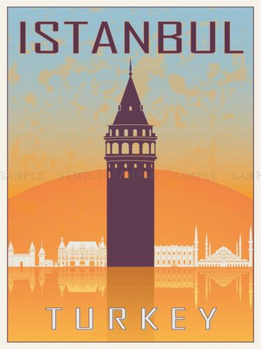 TRAVEL TOURISM ISTANBUL TURKEY GALATA TOWER BYZANTINE VECTOR POSTER BMP10700