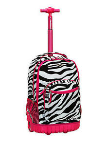 Rolling Backpack Rockland Sedan Pink Zebra Print School Bookbag ...