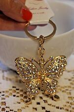 GIFT Key Chain Ring Charm Crystal Purse Pendant GOLD TONE BUTTERFLY Fashion
