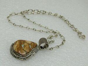 Vintage-Sterling-Navajo-Turquoise-Necklace-signed-J-Nelson-27-95gr-19-5-034