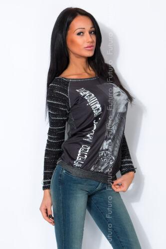 Maglione Donna con Tasche requisito STAMPA BARCA Top Girocollo Tunica Taglie 8-14 FW48