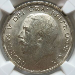 GREAT-BRITAIN-silver-1-2-Crown-1919-NGC-AU-58-UNC-George-V