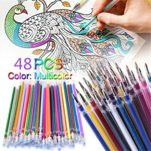 Details About 48pcs Set Glitter Gel Pens Coloring Drawing Painting Craft Markers Stationery