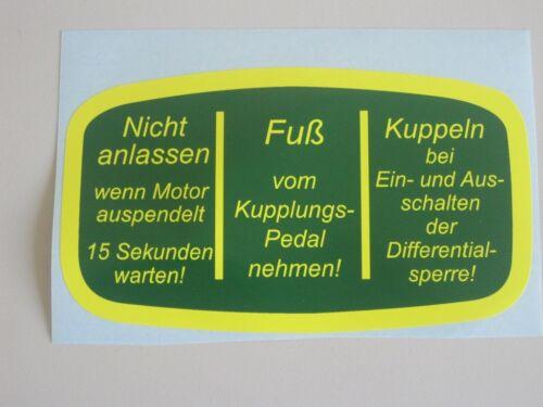 Traktor Schlepper gelb Aufkleber Schaltbild Deutz D15 D25 D30 D40 F grün