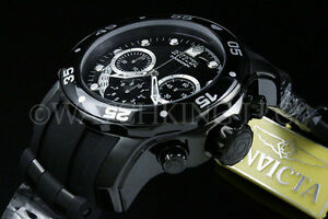 New-Invicta-Men-Scuba-Pro-Diver-Combat-Chrono-Gunmetal-Black-Dial-S-S-Poly-Watch