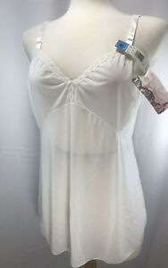 Vintage Shadowline White Camisole Nylon USA Size 40 Tags Intact Opacitrique