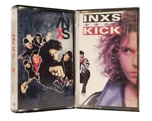 LOT OF 2 INXS CASSETTE  TAPES ~ KICK & X ~ ATLANTIC LABEL ~ HARD CLASSIC ROCK