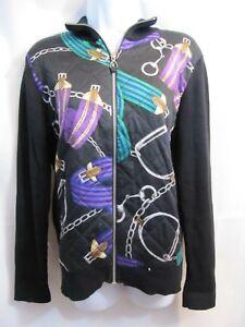 noire en intégral Ralph Lauren avec impression Taille à Veste zip Lauren L tricot 0nv1OqwOx