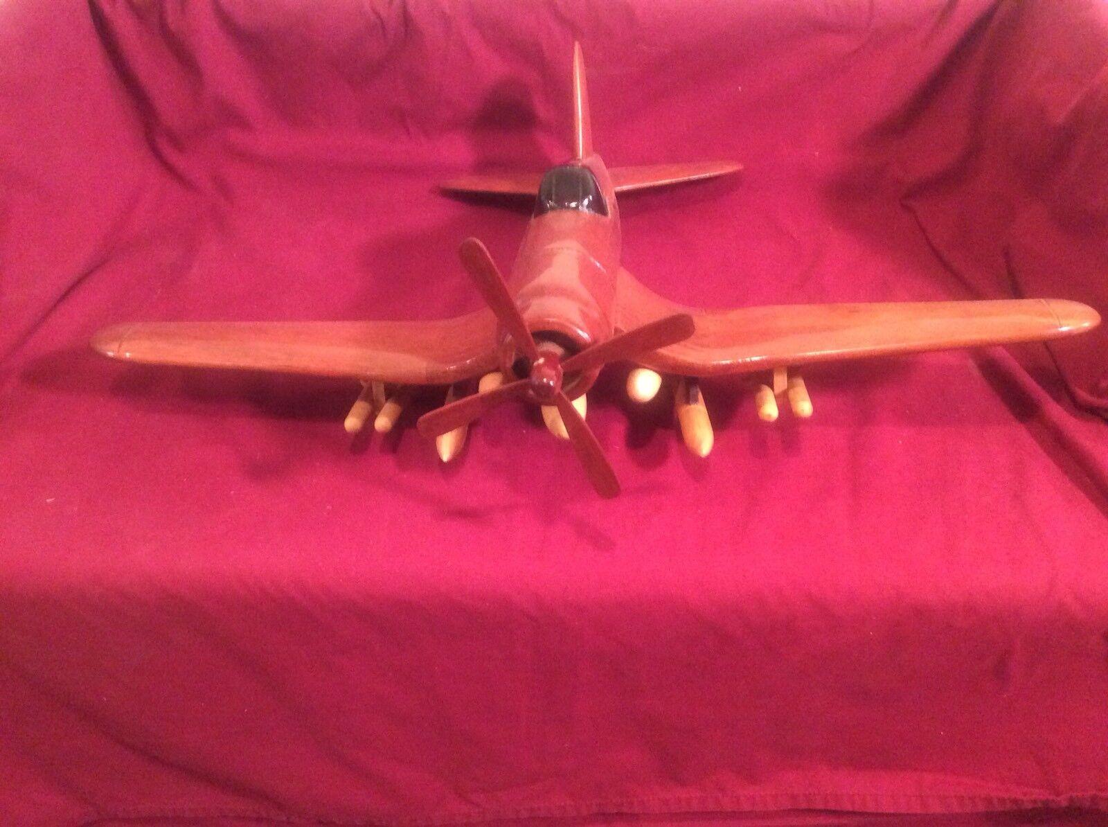 Handtillverkade träen Mahogany militär- P 51 Mustang Fighter Airplan samlaable leksaker